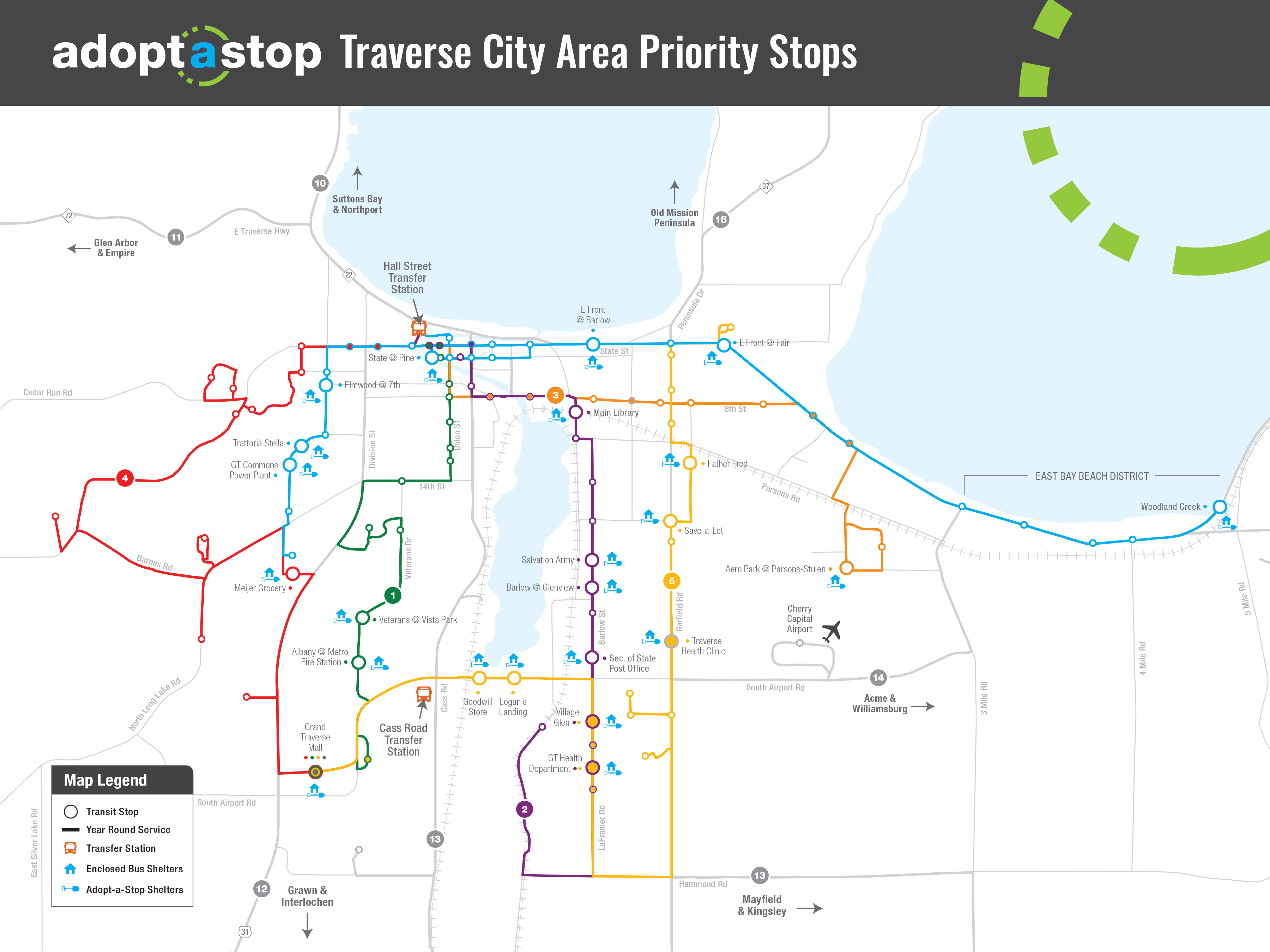 Northern Michigan Bay Area Transportation Authority Adopt a Stop Traverse City Area Priority Stops map