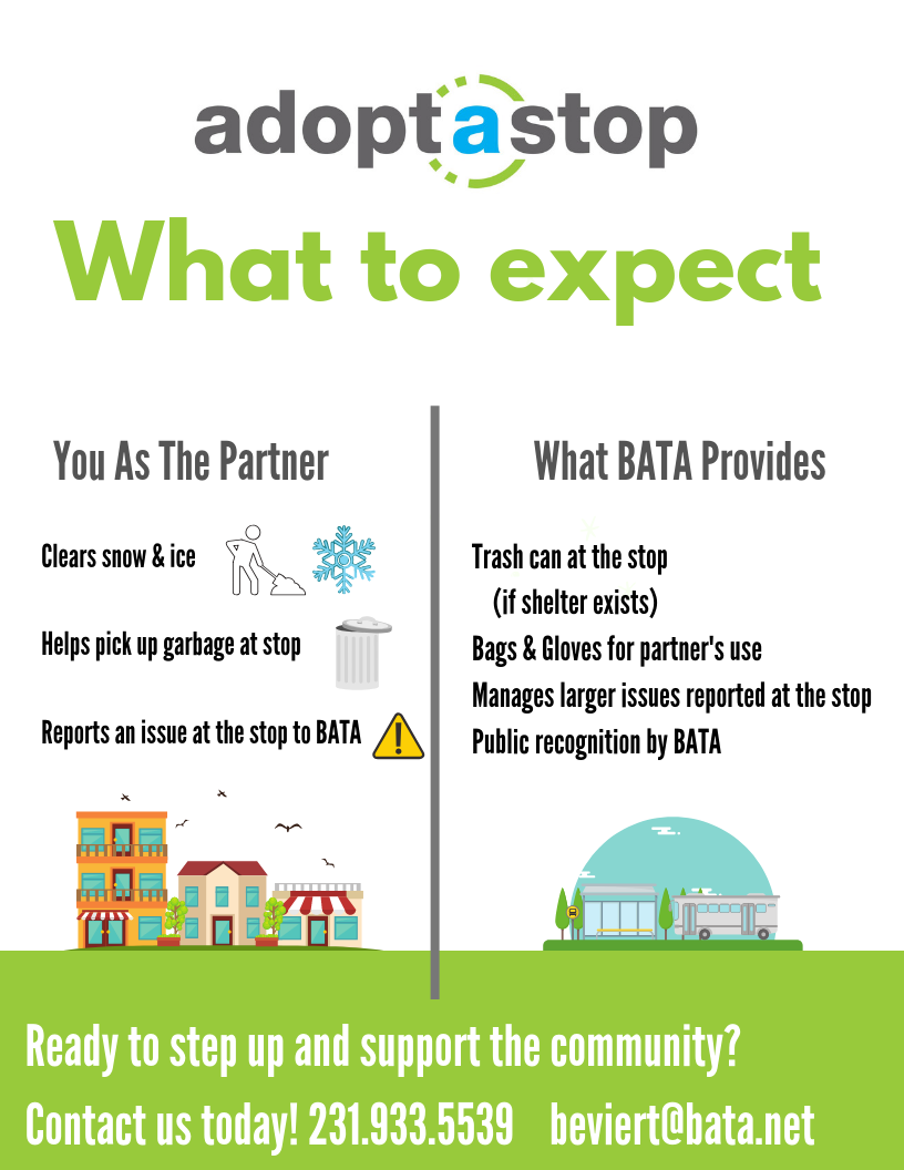 Northern Michigan Bay Area Transportation Authority Adopt a Stop what to expect flyer