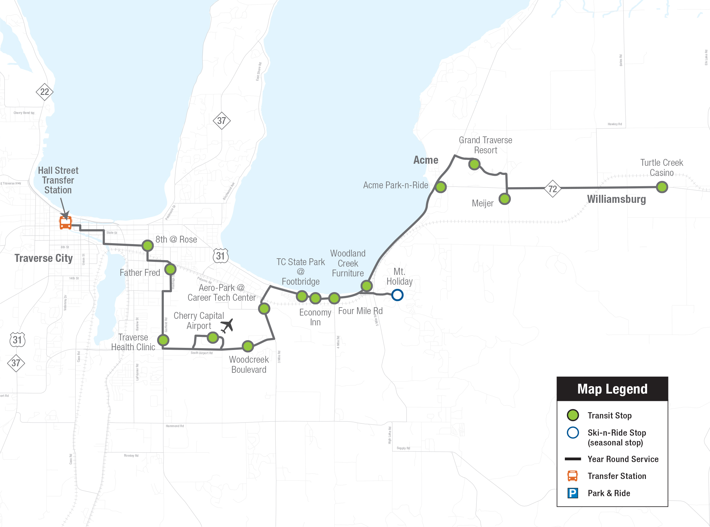Route 14 Bus Map to Williamsburg for Northern Michigan Bay Area Transportation Authority