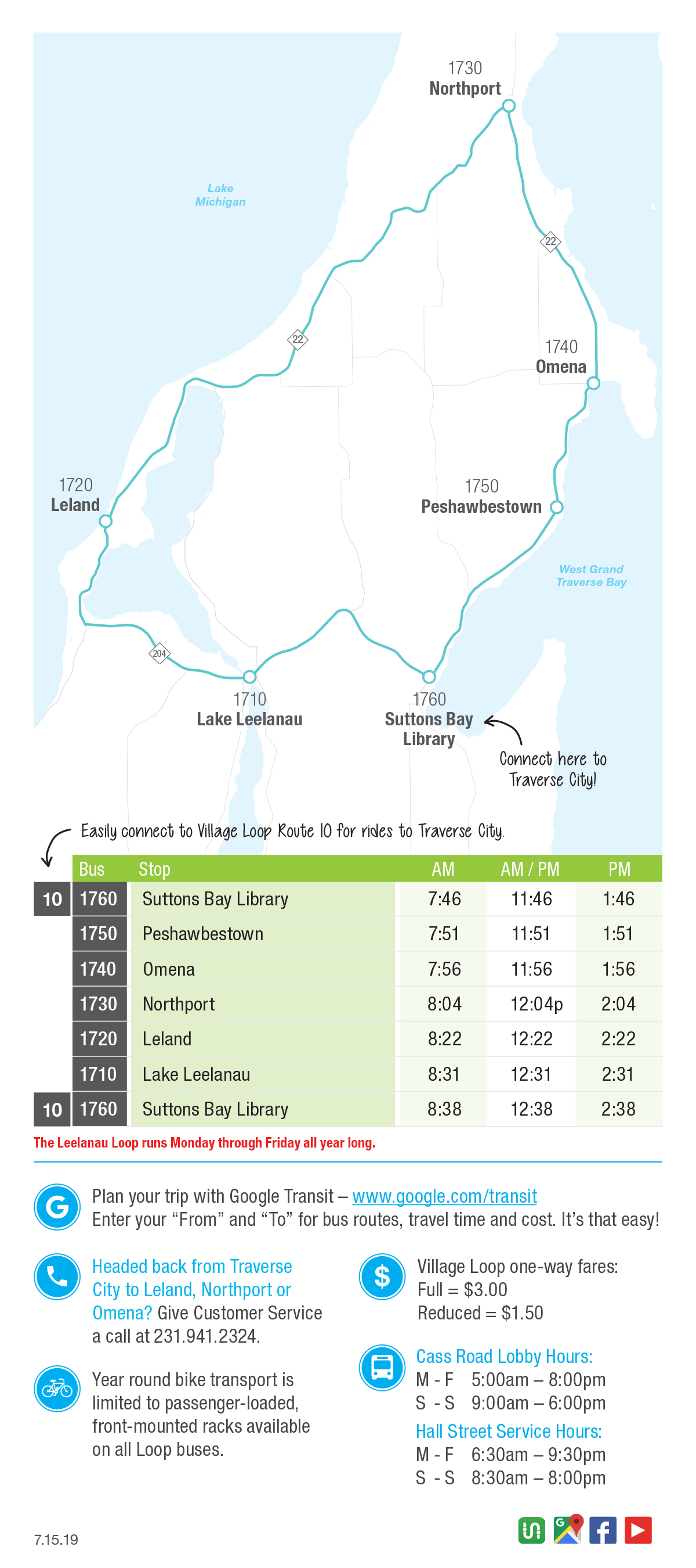 Leelanau Loop bus route map for Northern Michigan Bay Area Transportation Authority