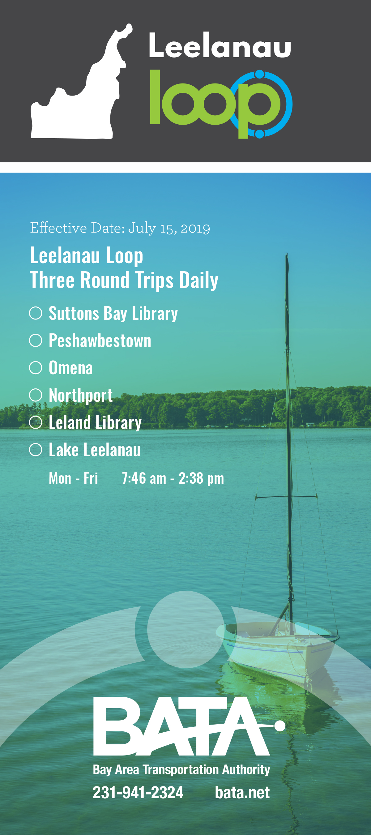 Leelanau Loop Three Round Trips daily flyer Northern Michigan Bay Area Transportation Authority